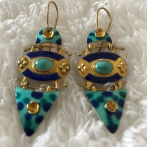 Decorative Earrings metal and enamel with beads
